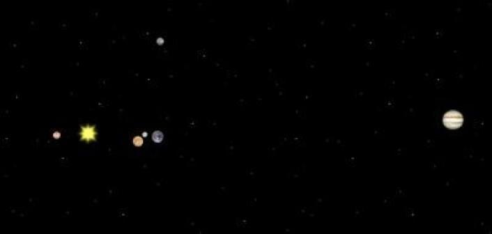 De indre planetenes posisjoner på nyttårsaften 31. desember 2013. Øverst i bildet ser man også hvor Mars er. (Foto: (Solar System Simulator))