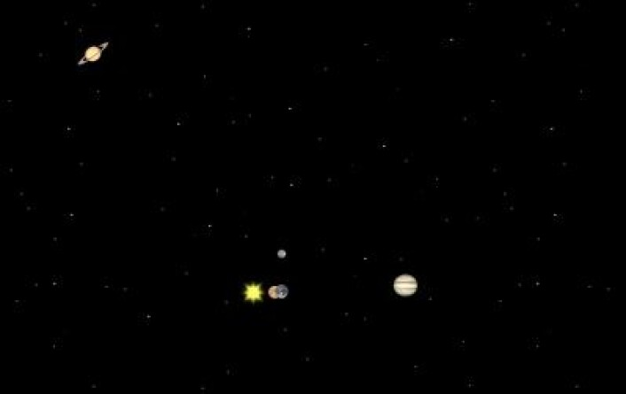 Sola, Venus, Jorda og Jupiter på linje 7. januar 2014. Mars og Saturn befinner seg helt andre steder i januar. (Foto: (Solar System Simulator))