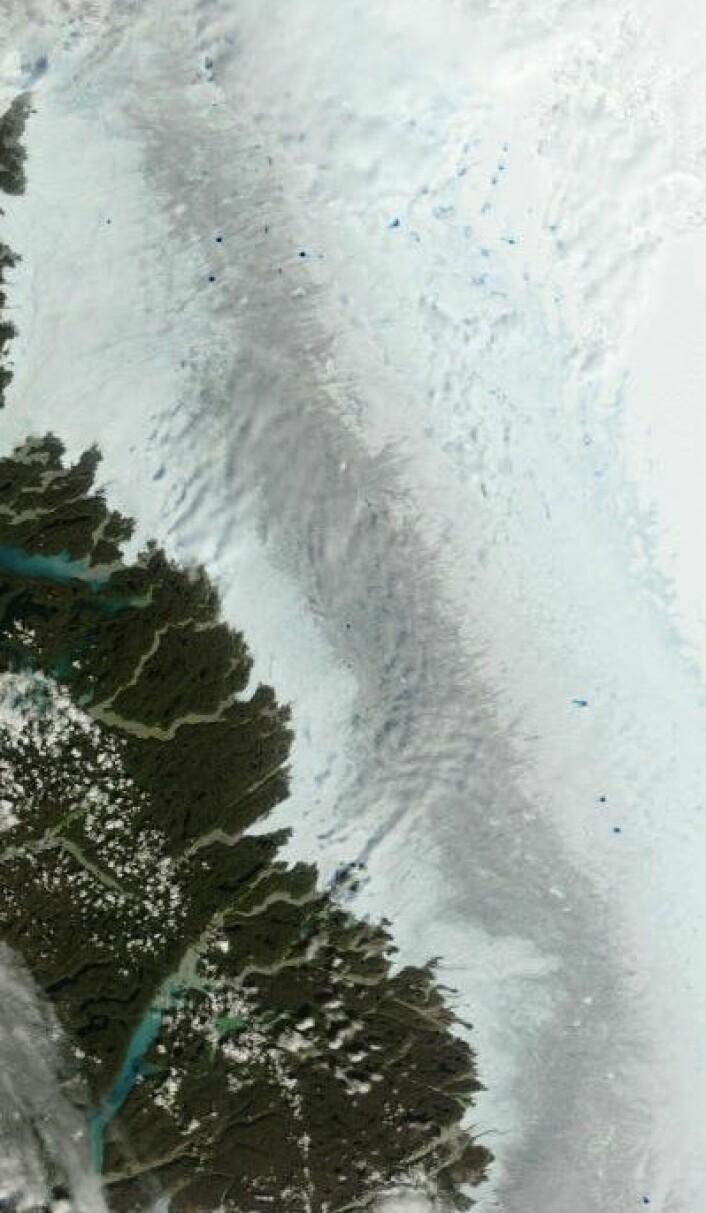 Bilde fra Grønlands vestkyst og litt innover på breen, sett fra Terra 30 juli. (Foto: (NASA Terra MODIS))