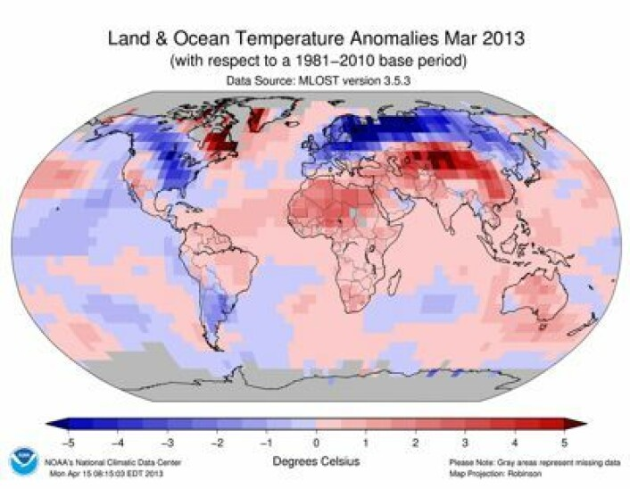 Temperatur ved bakke/hav-nivå i mars 2013, iflg NOAA. Joda, det var kaldt i Øst-Europa denne måneden. (Foto: (NOAA))