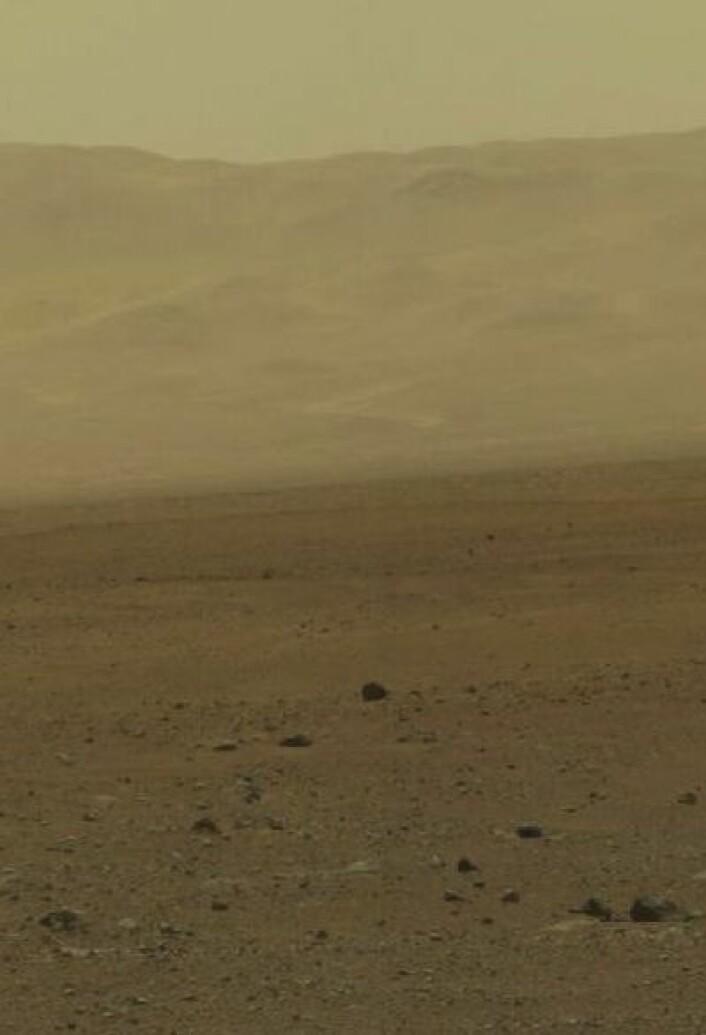Curiosity er trygt nede på Mars-overflaten, og myser utover sletten mot veggen av Gale-krateret. (Foto: (NASA/JPL-Caltech/MSSS))