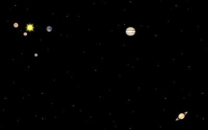 31. desember 2001: Den mest aktive måneden i denne solsyklusen avsluttes med Jupiter i opposisjon. Venus hjelper også til, mens Mars og Saturn er andre steder. Merkur har nylig vært en tur bak sola. (Foto: (Solar System Simulator))