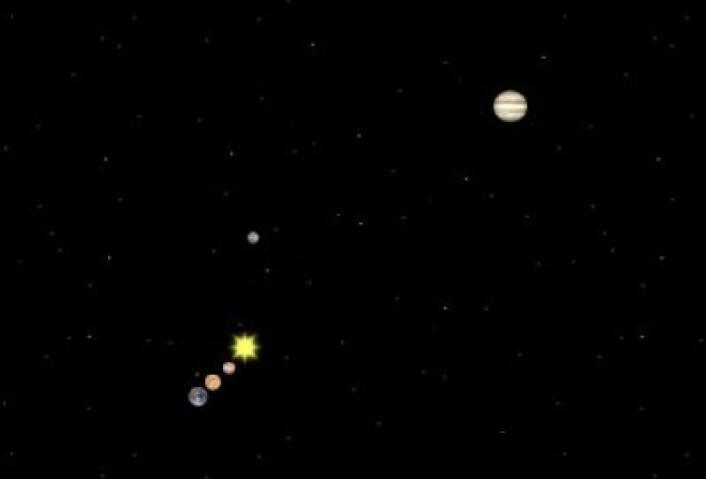 22. august 1991: En riktig fin planetkombinasjon, selv om Mars som vanlig er litt utenfor begivenhetenes sentrum. (Foto: (Solar System Simulator))