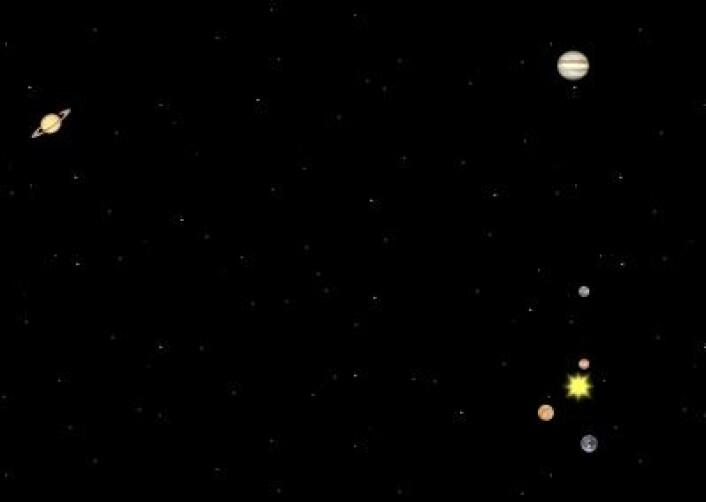 15. oktober 1957: Slik var planetene plassert midtveis i den måneden da man observerte aller flest solflekker. (Foto: (Solar System Simulator))