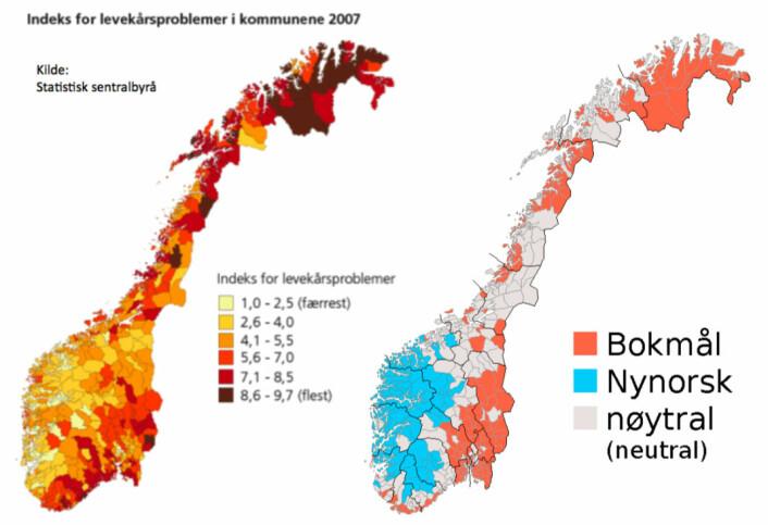 Samla indeks for levekårsproblem i 2007 (kjelde: SSB) versus målform i kommunane. (Foto: SSB/Wikipedia)