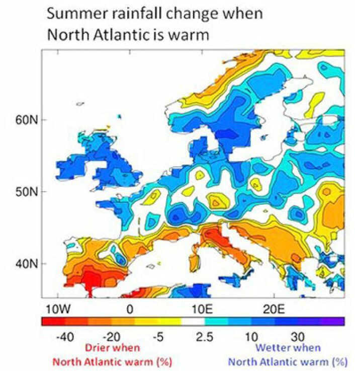 Mange forskere mener at Nord-Atlanteren nå får en noe kaldere fase igjen. Vil det gi tørrere sommere på Østlandet igjen? (Foto: (Univ. Reading))