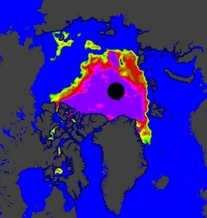 """Naturen kjører en """"splitt og hersk"""" -taktikk mot sjøisen i Arktis denne sommeren. Og det gir resultater. (Foto: (EUMETSAT osisaf.met.no))"""