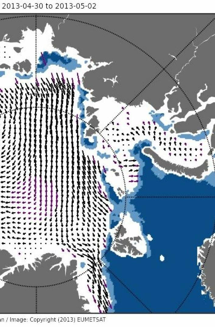 Isdrift i Arktis i månedskiftet april/mai. (Foto: (EUMETSAT osisaf.met.no))
