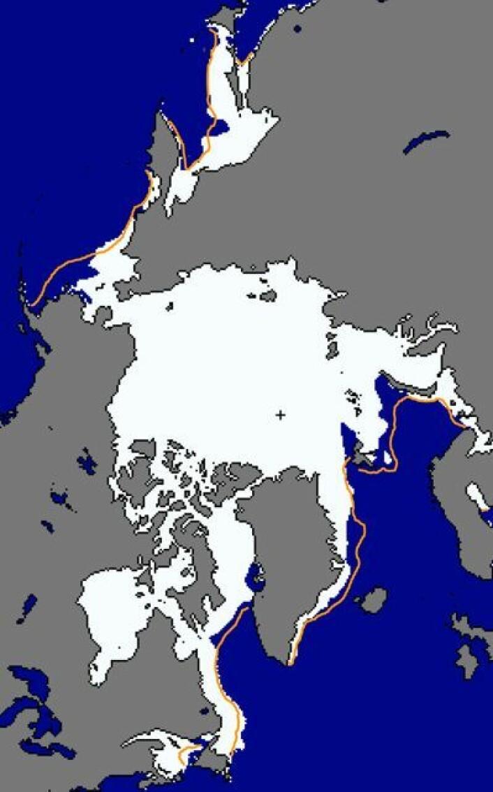 Sjøisens utbredelse i Arktis 30. januar. (Foto: (NSIDC))