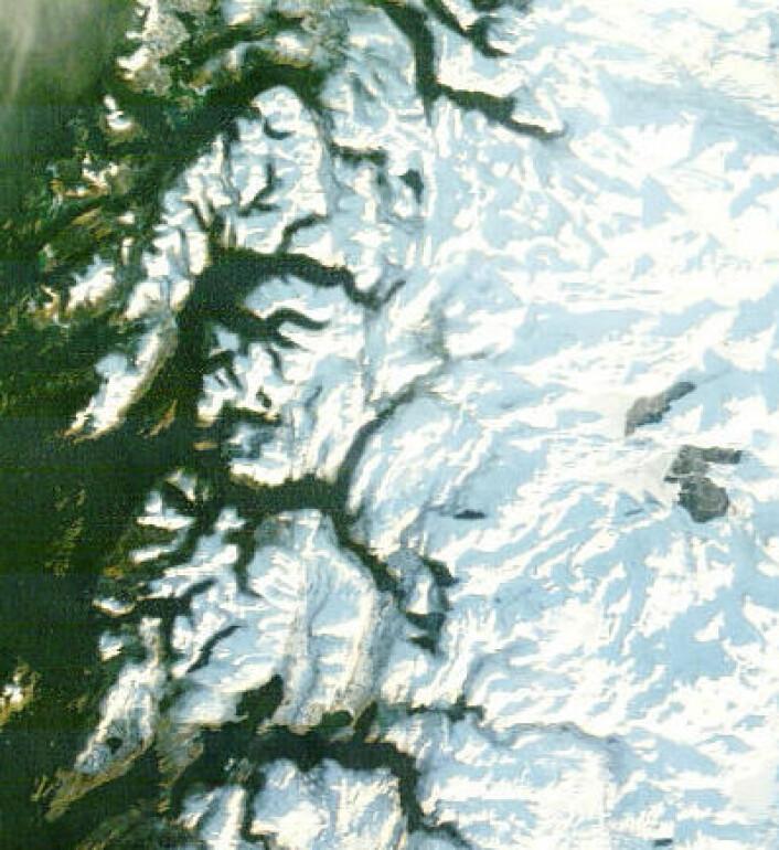 Grensetraktene i Nordland 30. januar, med de to store frosne svenske innsjøene Vastenjaure og Virihaure. (Foto: (NASA Terra MODIS))