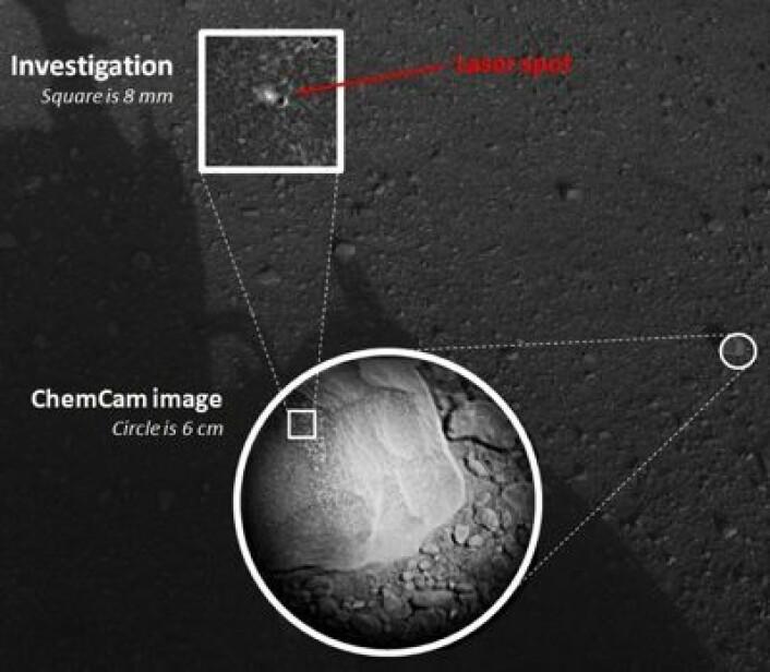 Første laser-testskudd på Mars-overflaten! Et bittelite merke i en tilfeldig valgt stein ved landingsstedet. (Foto: (NASA/JPL-Caltech/LANL/CNES/IRAP))