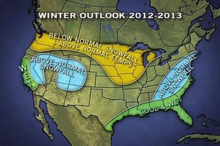 Den første værprognosen for vinteren over there. Det er El Ninjo i Stillehavet som bestemmer hvor snøen vil komme i USA. (Foto: (Accuweather.com))
