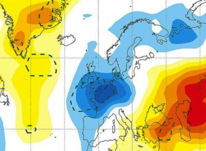 Typisk temperaturavvik for første vinteren etter solflekkminimum, midlet over mange solsykluser. (Foto: (Sirocko et al., AGU 2012))