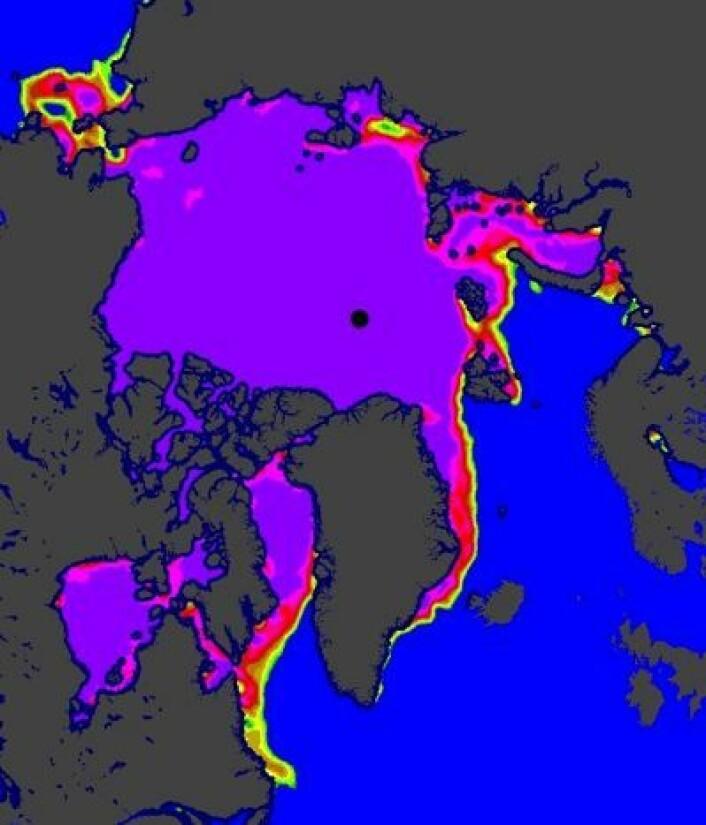 Isen holder foreløpig stand både i Karahavet og Hudson Bay 11. mai. (Foto: (EUMETSAT osisaf.met.no))