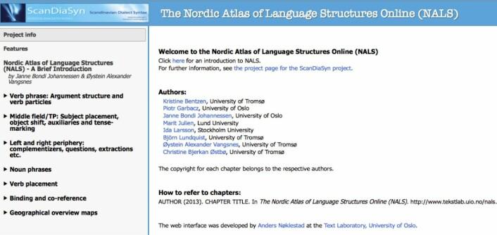 Nordic Atlas of Language Structures Online