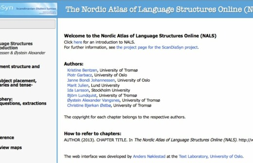 The Nordic Atlas of Language Structures Online (NALS)