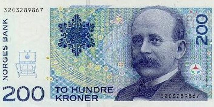 Birkeland var den forskeren som først forstod hvordan sola lager nordlyset. Han klarte sågar å demonstrere det på lab'en. Og så var det visst noe industri-greier også ... (Foto: (Norges Bank))