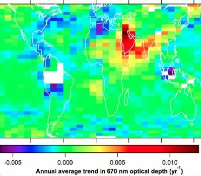 Satellittmålinger viser at aerosol-tettheten over USA og Europa har avtatt, mens den øker i Midt-Østen, India og Kina. (Foto: (D M Murphy / Nature Geoscience))