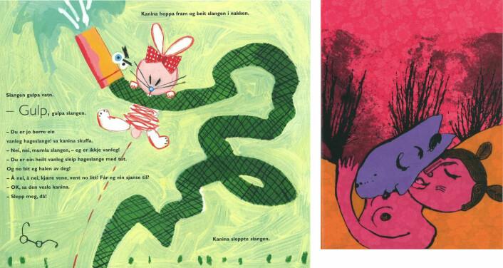 Hans Sande og Gry Moursund: Slangen i graset, Gyldendal (2007) og Marit Kaldhol og Justyna Nyka: Stripekalven, Samlaget (2008)