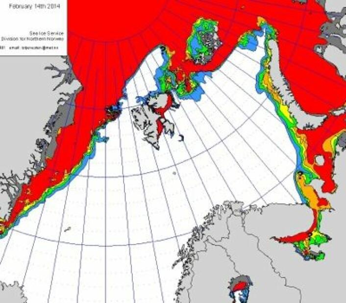 Iskart fra den norske istjenesten 14. februar. Til å være midt i februar, så ligger iskanten meget langt nord nå. (Foto: (MET))