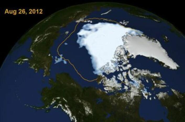 Rekord-bildet, her i litt kunstnerisk versjon fra NASA og NOAA. Det som var normalen for årstiden, er tegnet inn. (Foto: (NASA og NOAA))