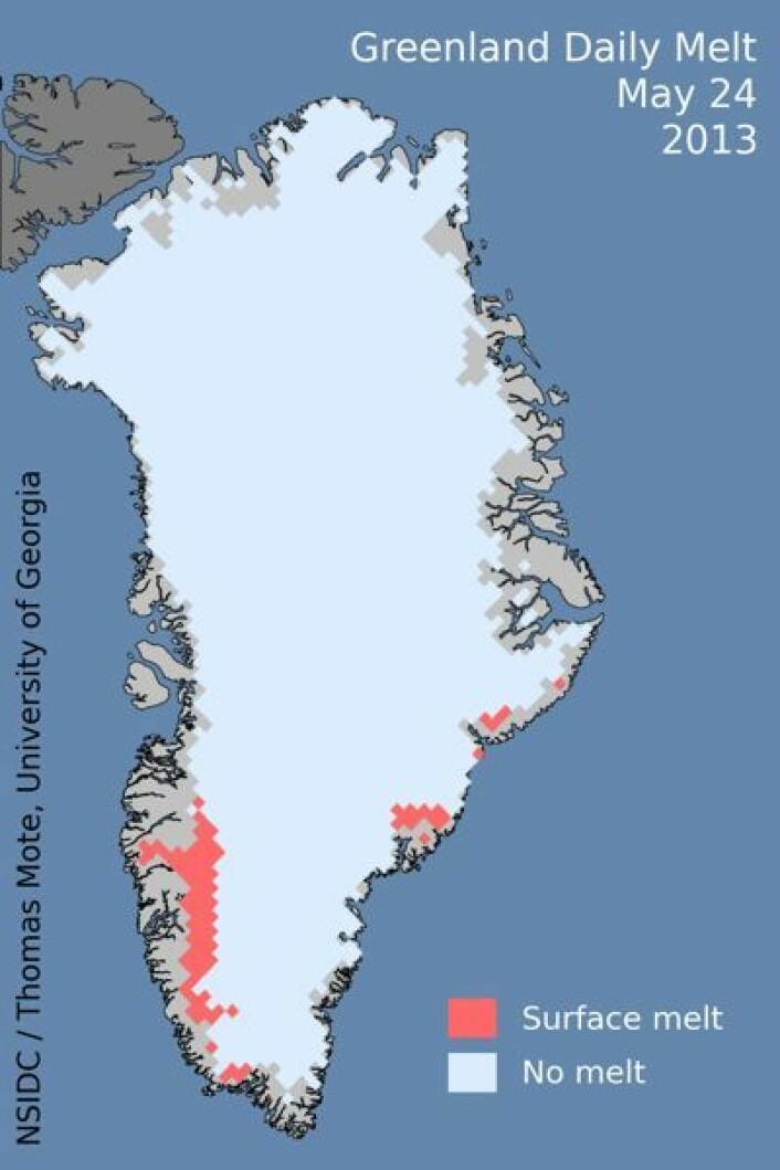 Årets smelting på Grønland har startet litt sent. Her er områdene med smelting observert fra satellitt 24. mai. (Foto: (NSIDC / T. Mote, Univ of Georgia))