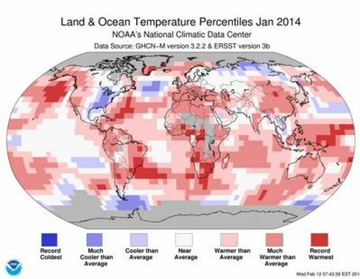 Det var rekordvarmt (mørk rødfarge) i januar mange steder på kloden, i følge dette kartet fra NOAA. (Foto: (NOAA))