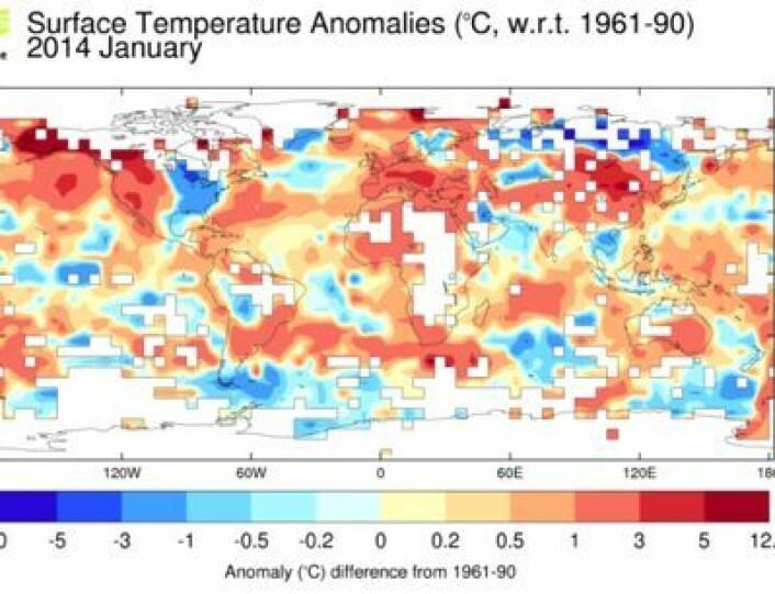 Gjennomsnittstemperatur i januar (avvik fra normalen), slik de britiske klimaforskerne ser det. (Foto: (HadCRUT4 (Met.Office/CRU)))