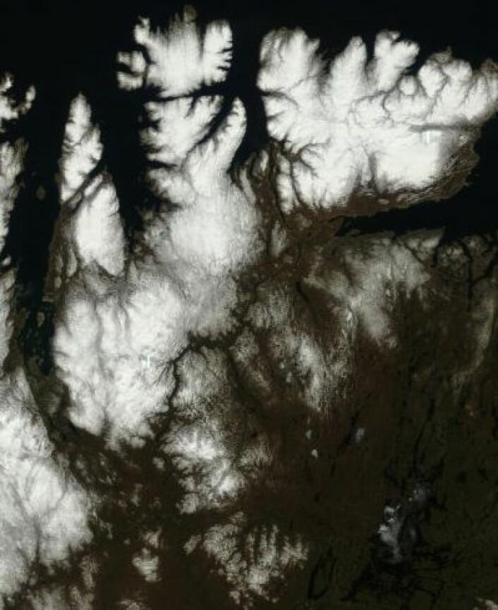Det er vår i Finnmark, også sett fra NASAs Terra 23. mai. (Redusert detaljoppløsning). (Foto: (NASA Terra MODIS))