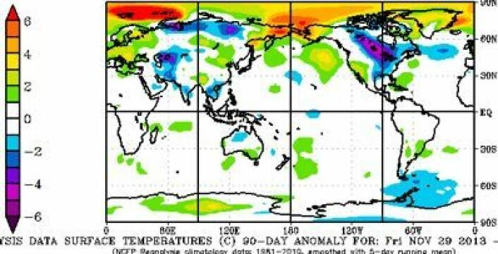 90 dagers reanalyse for vinteren 2014 (temperaturavvik fra normalen 1981-2010). (Foto: (NOAA))