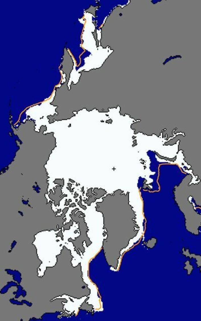 Lite sjøis ved Kamtsjatka og i Beringstredet 27. februar, og veldig lite sjøis i Barentshavet. (Oransje kurve er medianen for denne datoen i perioden 1981-2010). (Foto: (NSIDC))