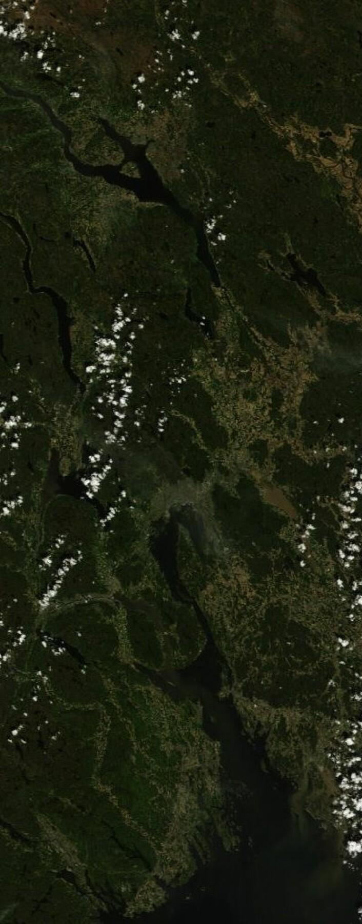 Bilde tatt fra NASAs satellitt Terra på formiddagen søndag 26. mai 2013. (Foto: (NASA Terra MODIS))