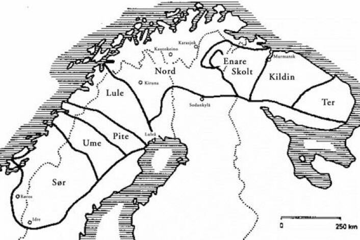 Kart som syner den tradisjonelle utbreiinga av dei samiske språka (Hentet fra Wikipedia Commons)