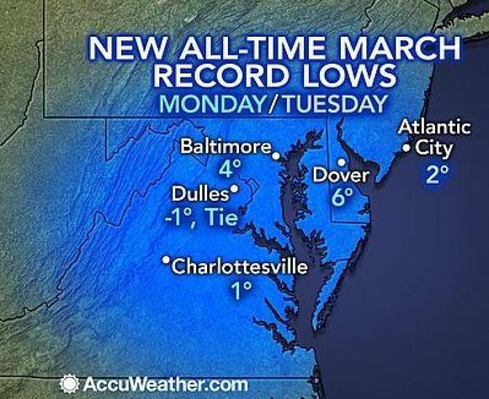 Neida, jeg har ikke glemt at 2014 har vært en kald vinter i USA. Celsius-skala hadde vært ille nok, men dette temperaturkartet fra 3-4 mars bruker altså Fahrenheit (0 Fahrenheit er ca. 18 kuldegrader). (Foto: (AccuWeather.com))