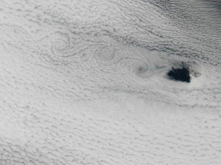 Østavind, og jammen satte Bjørnøya spor etter seg i skyene 1. juni. (Redusert oppløsning) (Foto: (NASA Aqua MODIS))