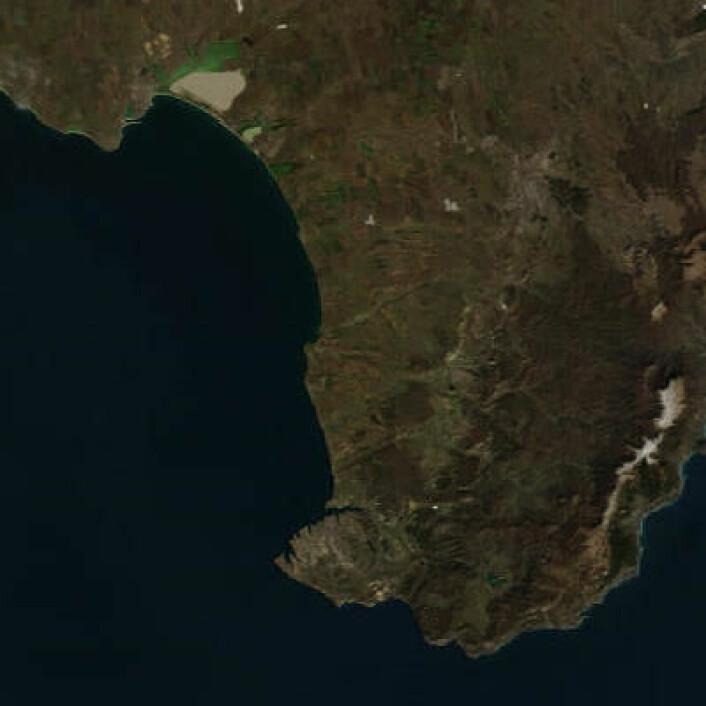 Sydspissen av Krim-halvøya, med Sevastopol og Balaklava, sett fra NASAs satellitt Terra 3. mars. (Foto: (NASA Terra MODIS))