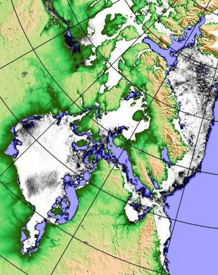Det begynner omsider å bli noe åpent vann i Hudson Bay. (Foto: (PolarView / Univ Bremen))