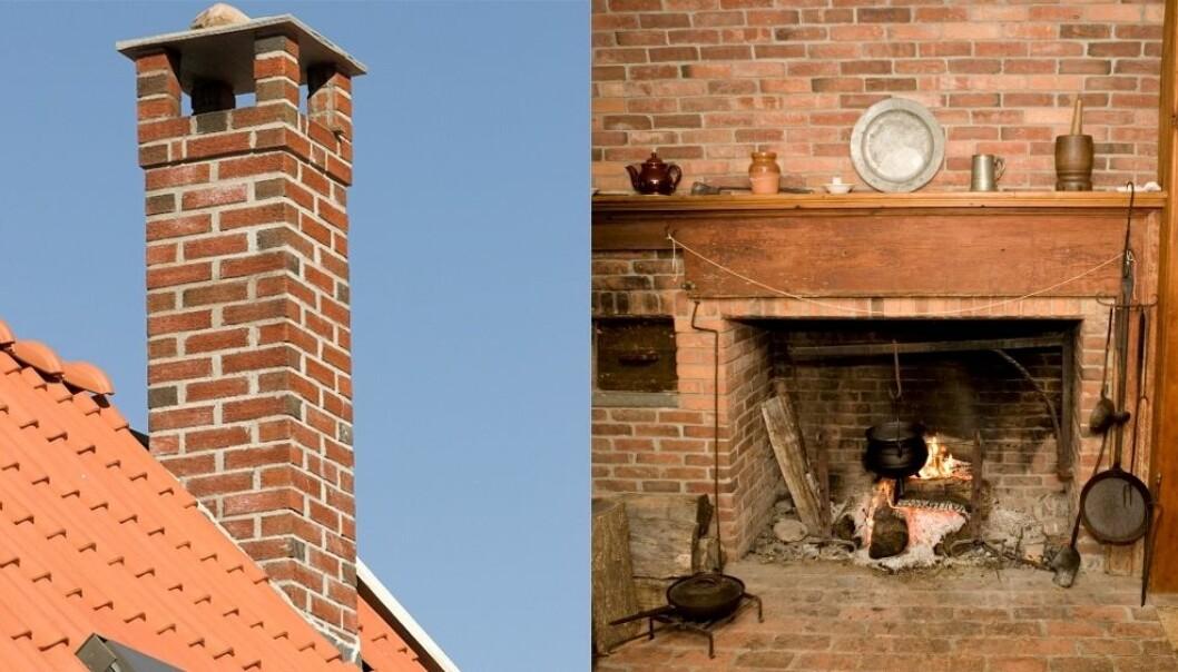 Noen steder i landet mener folk pipe når de sier skorstein. Men tidligere har ordet betydd hele murskonstruksjonen – alt fra peisen til kokeplata og røykkanalen. John Sandoy / Scanpix og Istockphoto