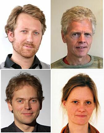Forskerne Asgeir Skålholt og Håkon Høst (NIFU, øverst fra venstre) og Torgeir Nyen og Anna Hagen Tønder (Fafo) har skrevet rapporten om lærlingtiden i utdanningen som helsefagarbeider. (Foto: NIFU/FAFO/Alf Tore Bergsli)