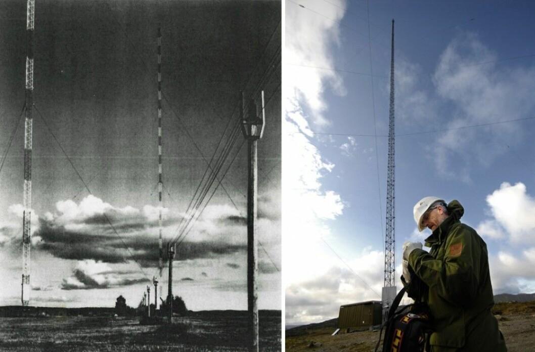"""T.v: Langbølgesenderen på Kløfta, som ble nedlagt 2. januar 1995. T.h: Langbølgesenderen på Ingøy i Måsøy kommune i Finnmark sender fortsatt til havområdene nord for Finnmark. De lange bølgene krever en lang, høy antenne, men når til gjengjeld også svært langt. (Foto: Kløfta-senderen gjengitt med tillatelse fra <a href=""""http://www.nrhf.no"""">Norsk Radiohistorisk Forening</a>, Ingøy-senderen: Allan Klo, <a href=""""https://creativecommons.org/licenses/by-sa/3.0/deed.en"""">CC-BY-SA 3.0 Unported</a>)"""