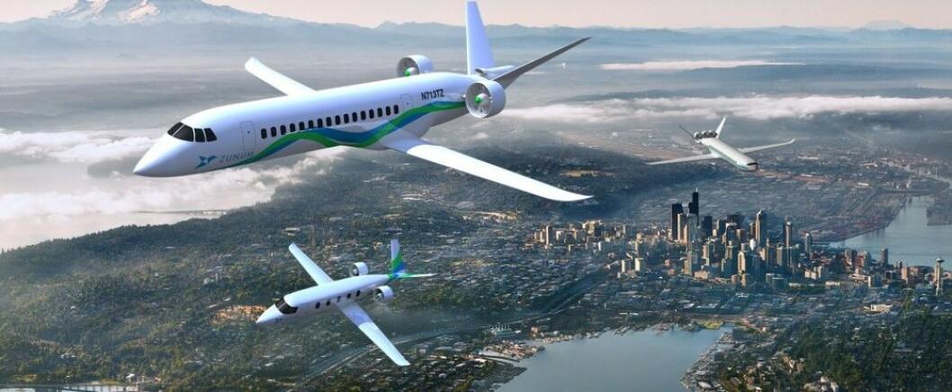 Zunum Aero planlegger å produsere et elektrisk kortdistansefly i samarbeid med Boeing og flyselskapet JetBlue. (Illustrasjon: Zunum Aero)