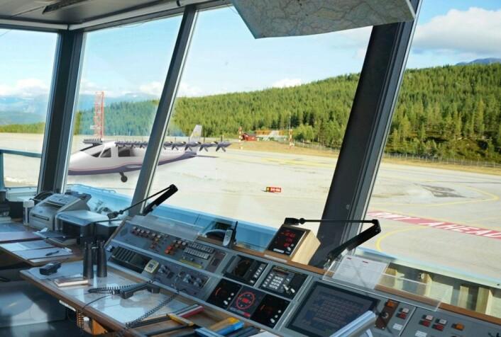 I framtida kan kontrolltårn bli ubemannede – eller ansvaret overlatt til den samme kunstige intelligensen som styrer flyene, overvåket av store kontrollsentraler. Her fra kontrolltårnet på Sogndal flyplass Haukåsen, 2012, med et elektrisk fly innmontert for å gi vinger til fantasien. (Foto: Arnfinn Christensen, forskning.no, med grafikk fra NASA Langley/Advanced Concepts Lab, AMA, Inc.)