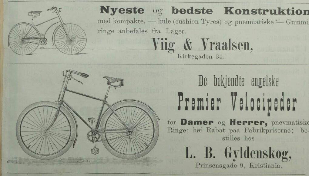 Sikkerhetssykkelen fra 1890-tallet ligner veldig på syklene slik vi kjenner dem i dag. Den diamantformede rammen satt sammen av to trekanter, pedaler, kjede og gummidekk. Annonser i Norsk Idrætsblad i 1891.