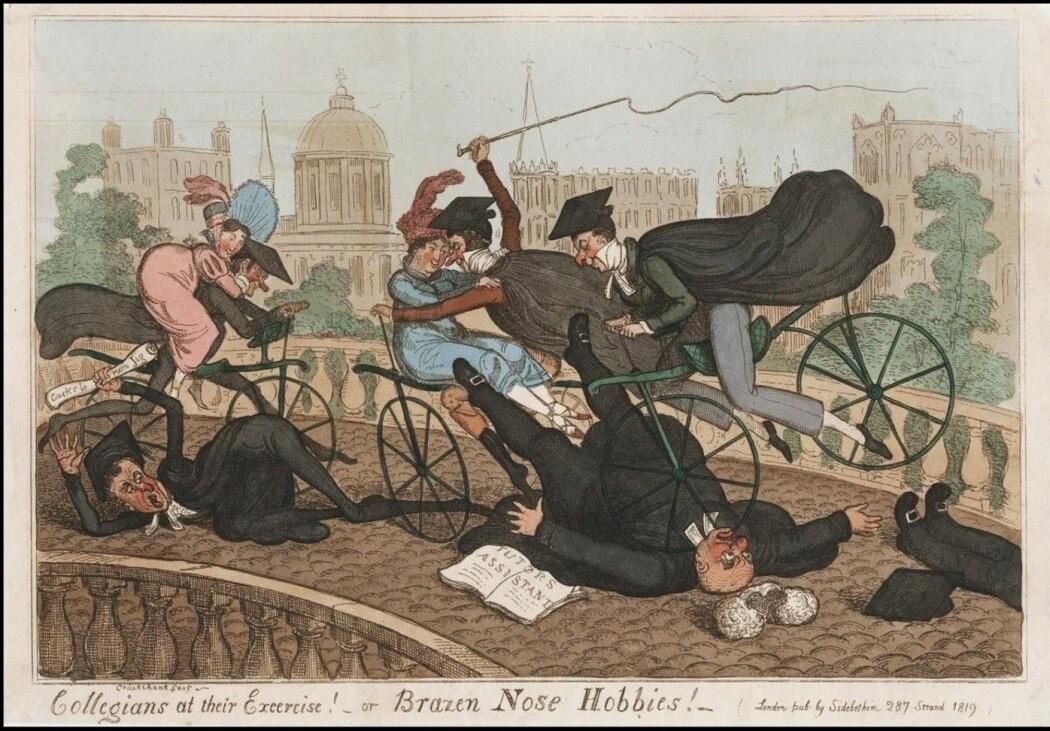 Så ille kan det gå! Ingen bremser og dårlig kontroll. En karikatur av Oxford-studenter på dandyhorse. (Illustrasjon: Robert Cruikshank, The Lewis Walpole Library, Yale University)