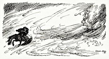 <em>«Den vinteren som kalles Fimbulvinteren kommer. Det driver snø fra alle kanter. Det er sterk kulde og vasse vinder. Ingenting har glede av sola. Det er tre slike vintre – uten somre i mellom,» </em>skriver Snorre i sin bok Edda. Fimbulvinteren (<em>fimbulvetr</em>) var et forvarsel om Ragnarok, verdens undergang. Flere har spekulert på om myten om Fimbulvinteren kan basere seg på noe som virkelig har hendt. Nå vet forskere at det er slik. (Bildet av Fimbulvinteren tegnet Louis Moe i 1929.)