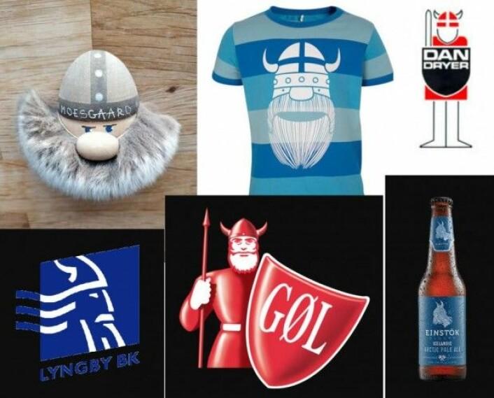 """Vikingfiguren inngår i mange ulike sammenhenger – helt fra kjøleskapsmagneter til T-skjorter, pølselogoer, ølflasker og idrettslag. Vi etterlyste illustrasjoner av vikingfigurer på <a href=""""https://www.facebook.com/videnskabdk/?ref=settings"""">Facebook-siden</a> vår – her er det et utvalg. (Foto: videnskab.dks lesere)"""