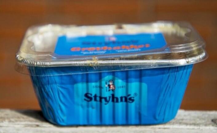 Den lille vikingen på Stryhn's leverpostei ser verken spesielt farlig eller fryktinngytende ut. Til gjengjeld har han en hjelm med horn på. (Foto: Camilla Riis Andersen)