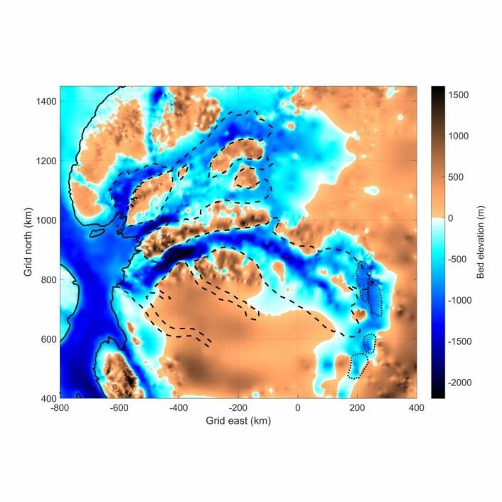 Det nye kartet over bunntopografien i regionen. Den heltrukne streken er den såkalte grunningslinja der isen løfter seg fra kontinentet og begynner å flyte på havet som en isbrem. De stiplete linjene viser omrisset til de rasktflytende breene Recovery, Bailey og Slessor. (Illustrasjon: Anja Diez)