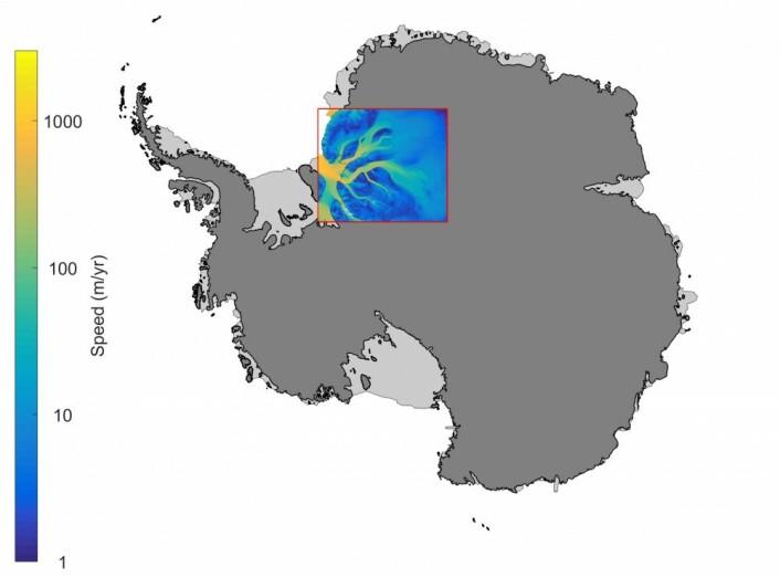 Kart over Antarktis med isstrømmene i regionen Recovery/Slessor/Bailey. (Illustrasjon: Anja Diez)