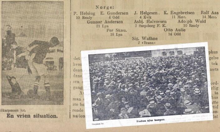 Tusenvis av menn i hatt på Frogner stadion etter seieren over Danmark. (Illustrasjon: Eivind Torgersen, faksimiler fra Morgenbladet 17. juni 1918)